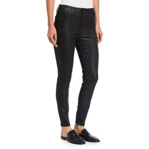 High Rise Skinny Coated Black Jeans - The Skinny